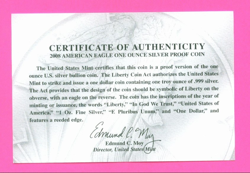 Certificate Of Authenticity Wording Best Of American Eagle Silver Dollar Fake