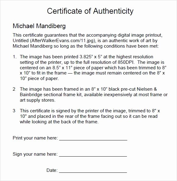 Certificate Of Authenticity Wording Fresh 45 Sample Certificate Of Authenticity Templates In Pdf