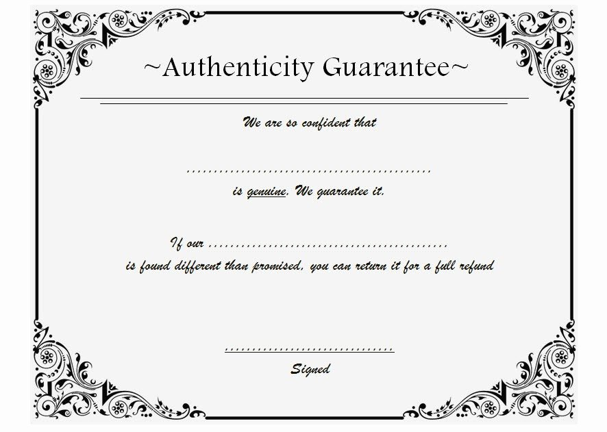 Certificate Of Authenticity Wording Fresh Certificate Of Authenticity Templates Free [10 Limited