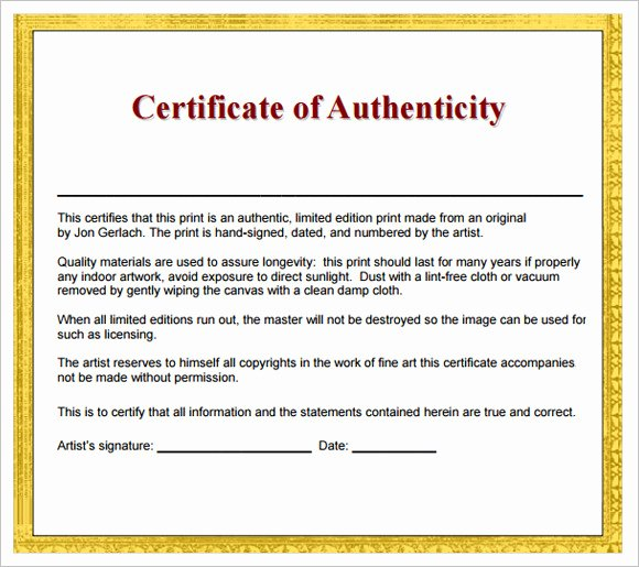 Certificate Of Authenticity Wording Inspirational 16 Sample Certificate Of Authenticity Documents In Pdf Psd