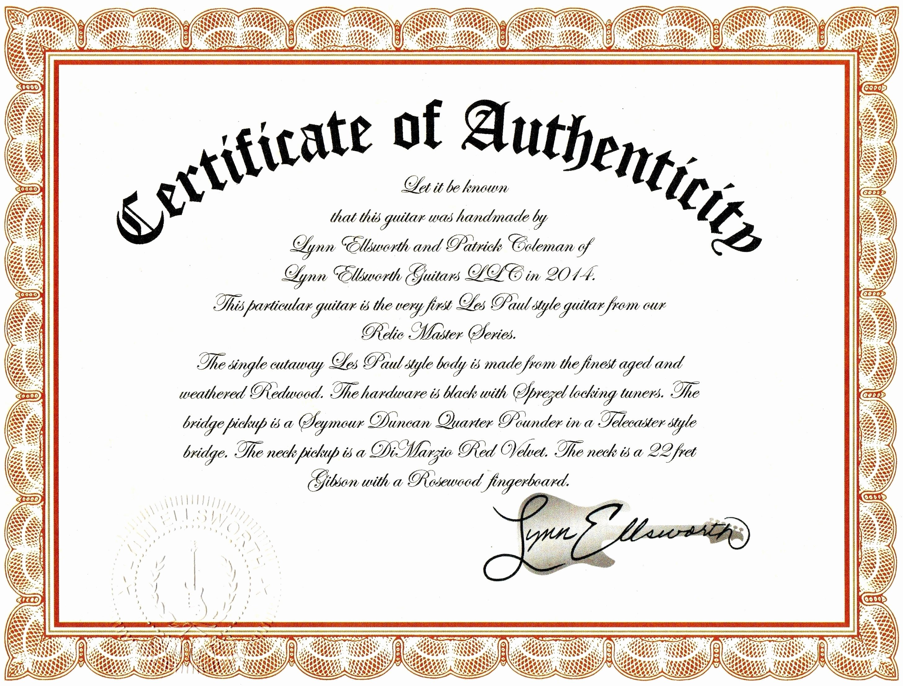 Certificate Of Authenticity Wording Lovely Sample Certificate Authenticity Graphy Best