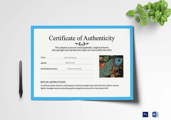 Certificate Of Authenticity Wording Luxury Certificate Of Authenticity Template 19 Free Word Pdf
