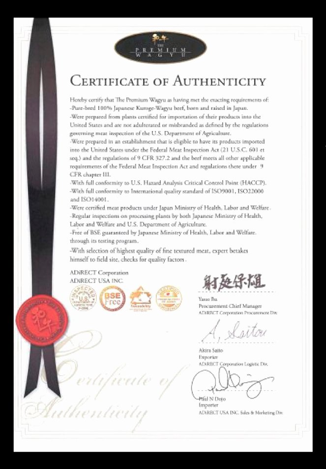 Certificate Of Authenticity Wording Luxury Wagyu Wagyu