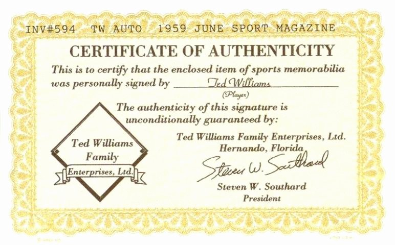 "Certificate Of Authenticity Wording Unique Bigtimebats Ted Williams Autographed ""sport"