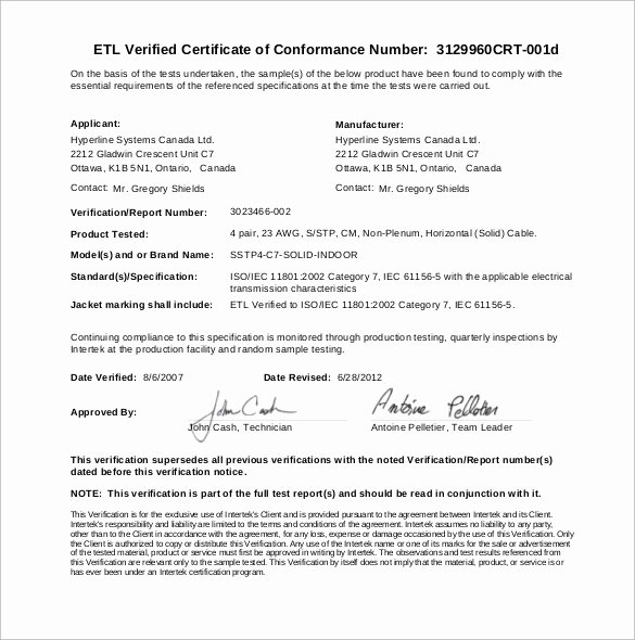 Certificate Of Conformance Example Awesome Sample Certificate Of Conformance 23 Documents In Pdf