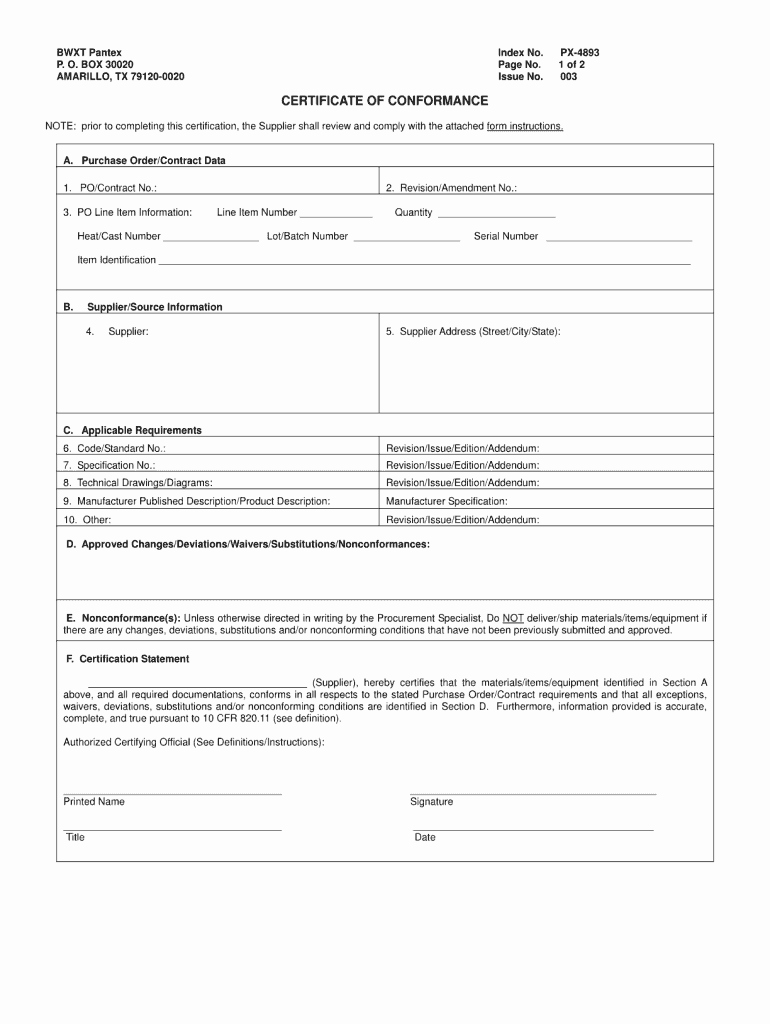 Certificate Of Conformance Example Fresh Certificate Conformance form Fill Line Printable