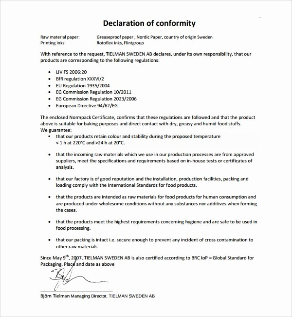 Certificate Of Conformance Example Luxury Sample Conformity Certificate Template 15 Documents In