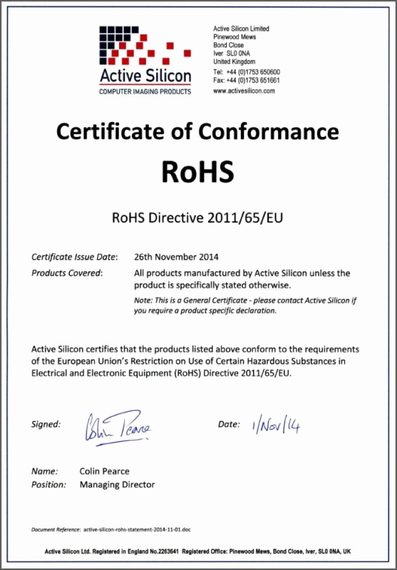 Certificate Of Conformance Example New Certificate Conformance Template