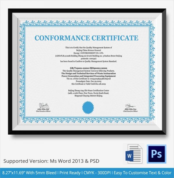 Certificate Of Conformance Example Unique Sample Certificate Of Conformance 19 Documents In Pdf