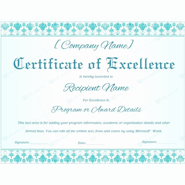 Certificate Of Excellence Template Word Awesome 16 Best Certificate Of Excellence Templates Images On