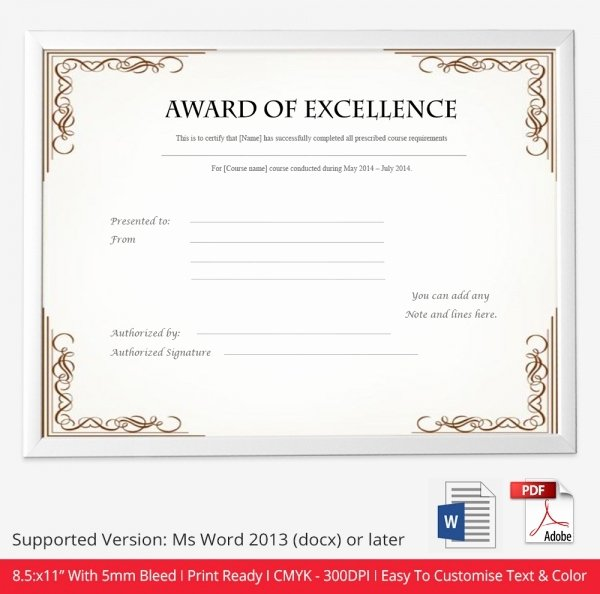 Certificate Of Excellence Template Word Awesome Free Certificate Template 9 Free Word Pdf Documents