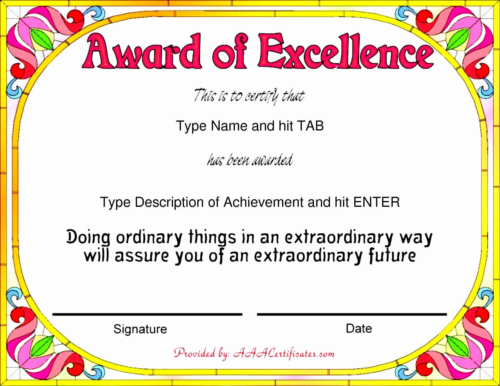 Certificate Of Excellence Template Word Beautiful 43 Stunning Certificate and Award Template Word Examples