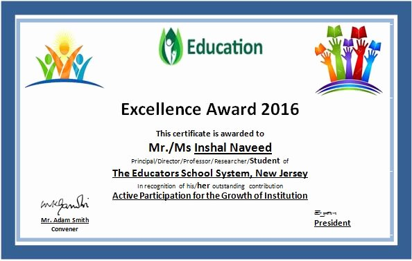 Certificate Of Excellence Template Word Best Of Word