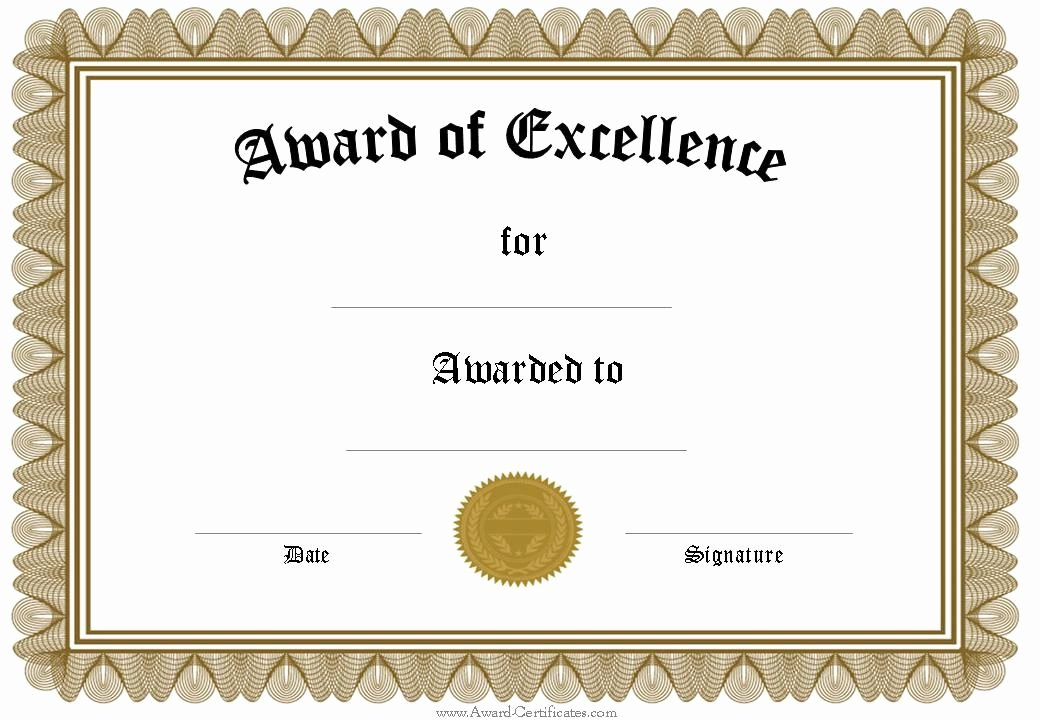 Certificate Of Excellence Template Word Elegant Free Funny Award Certificates Templates