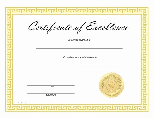 Certificate Of Excellence Template Word Fresh Certificates Of Excellence Free Printable
