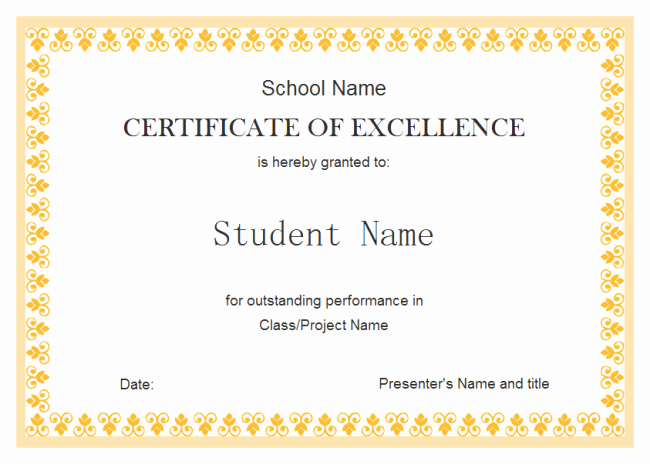 Certificate Of Excellence Template Word Lovely Perfect Example Of Editable Certificate Of Excellence