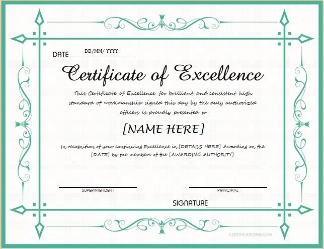 Certificate Of Excellence Template Word Lovely Pin by Alizbath Adam On Certificates