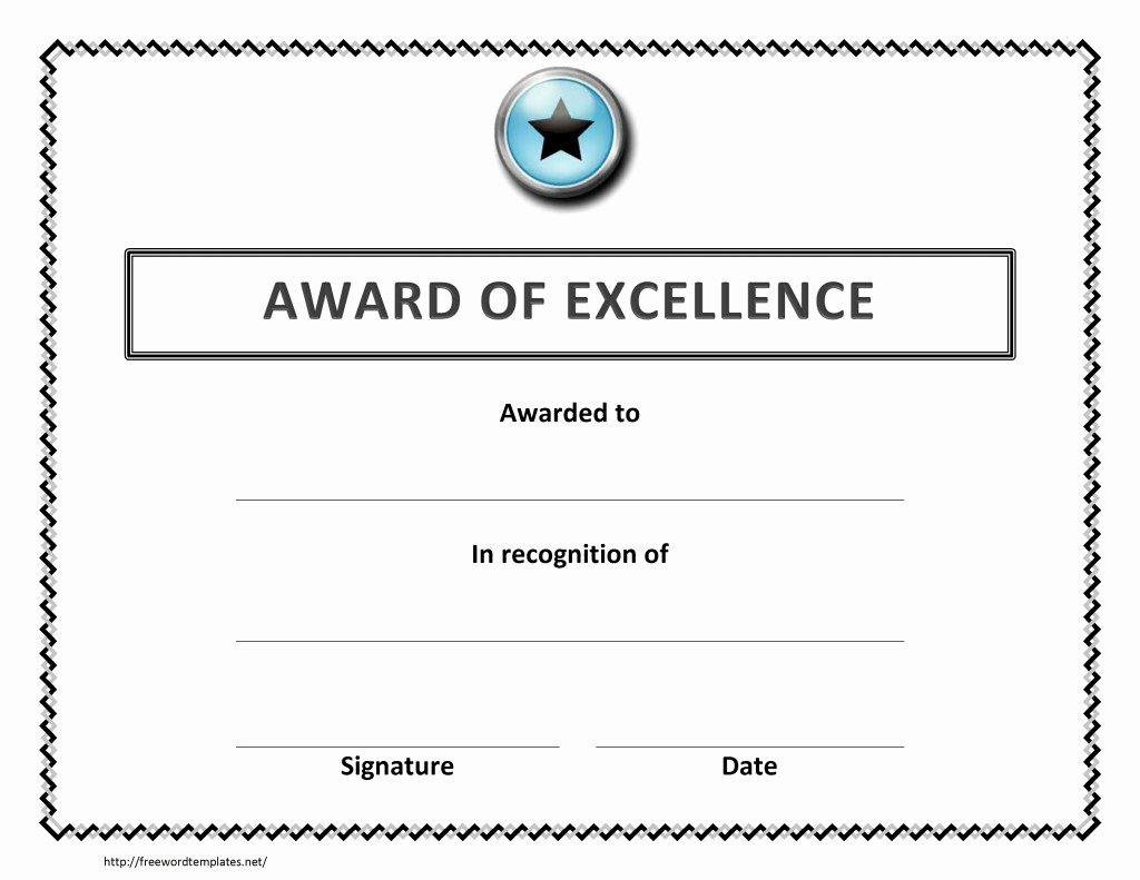 Certificate Of Excellence Template Word New Award Of Excellence Certificate Template