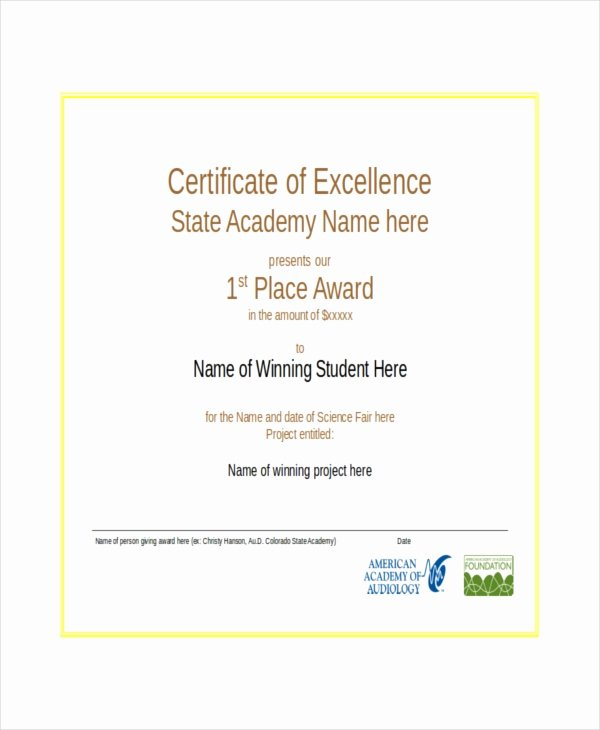 Certificate Of Excellence Template Word New Excellence Certificate Template 24 Word Pdf Psd