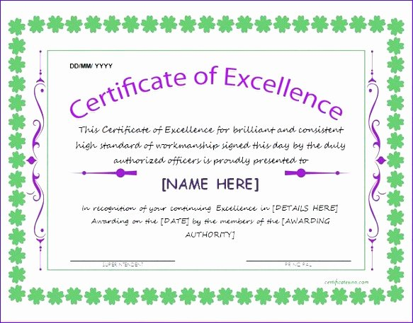 Certificate Of Excellence Template Word Unique 6 Certificate Excellence Template Word Exceltemplates