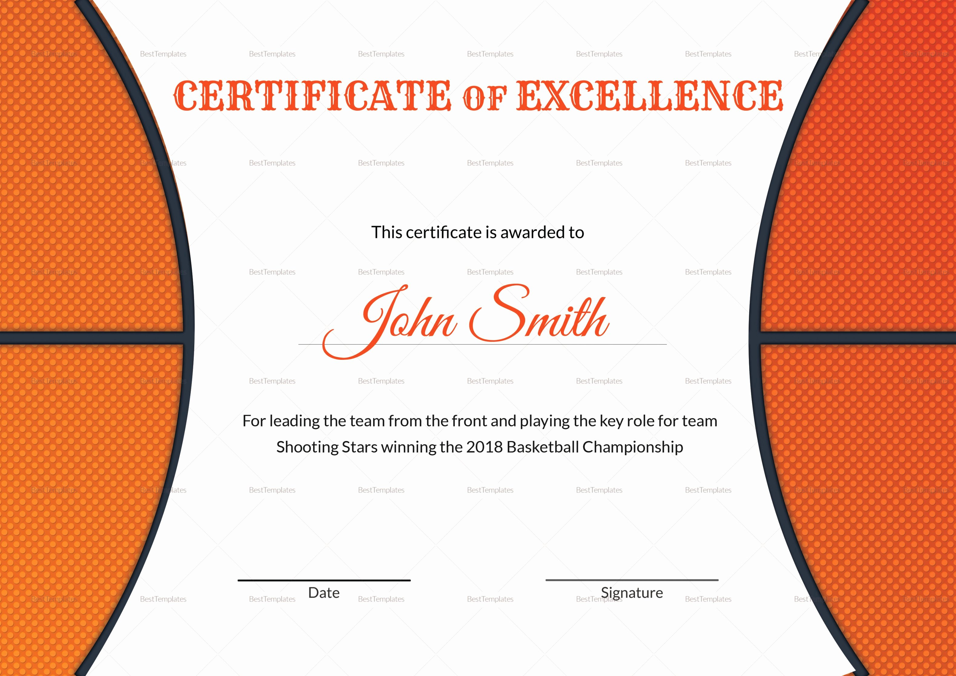 Certificate Of Excellence Template Word Unique Basketball Excellence Award Certificate Design Template In