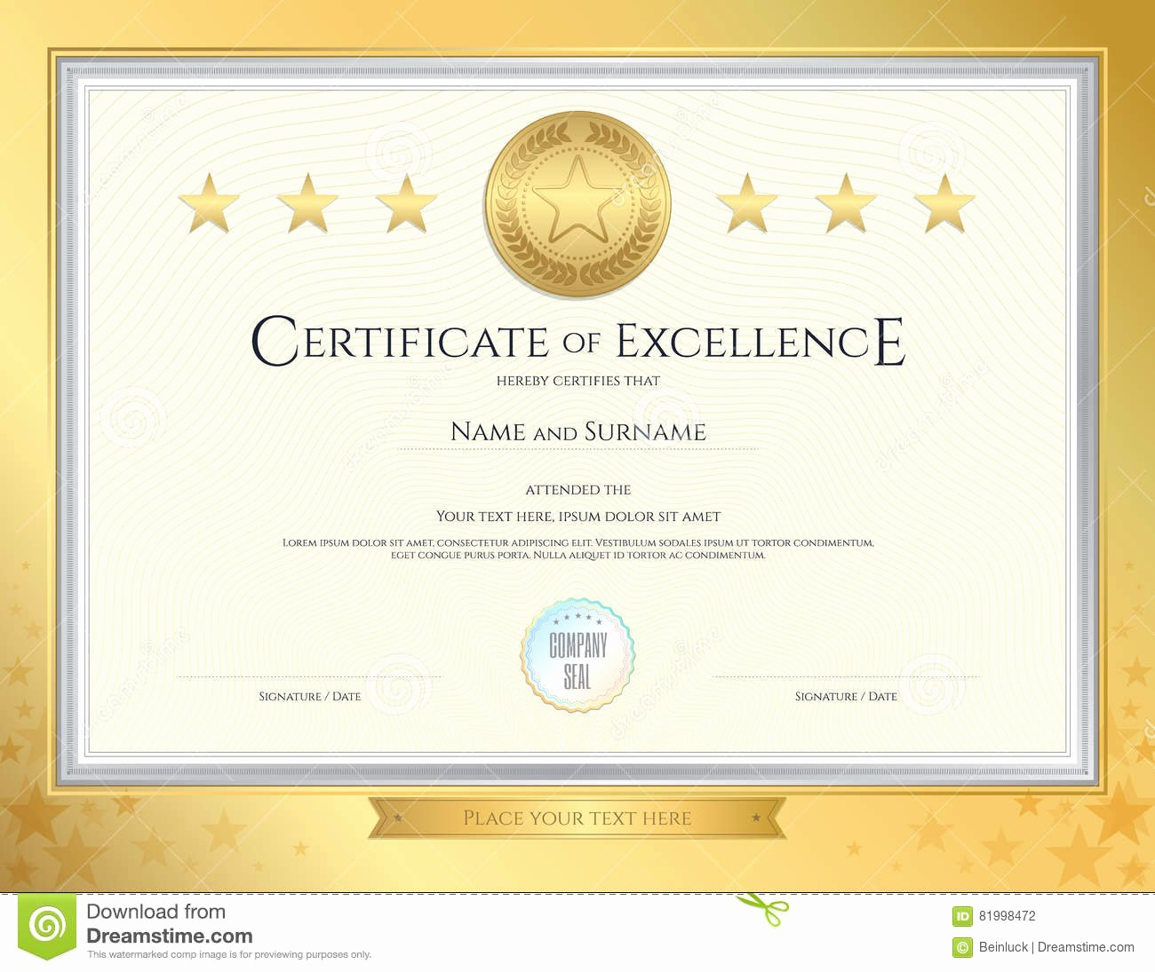 stock illustration elegant certificate template excellence achievement appreciation pletion gold border background image