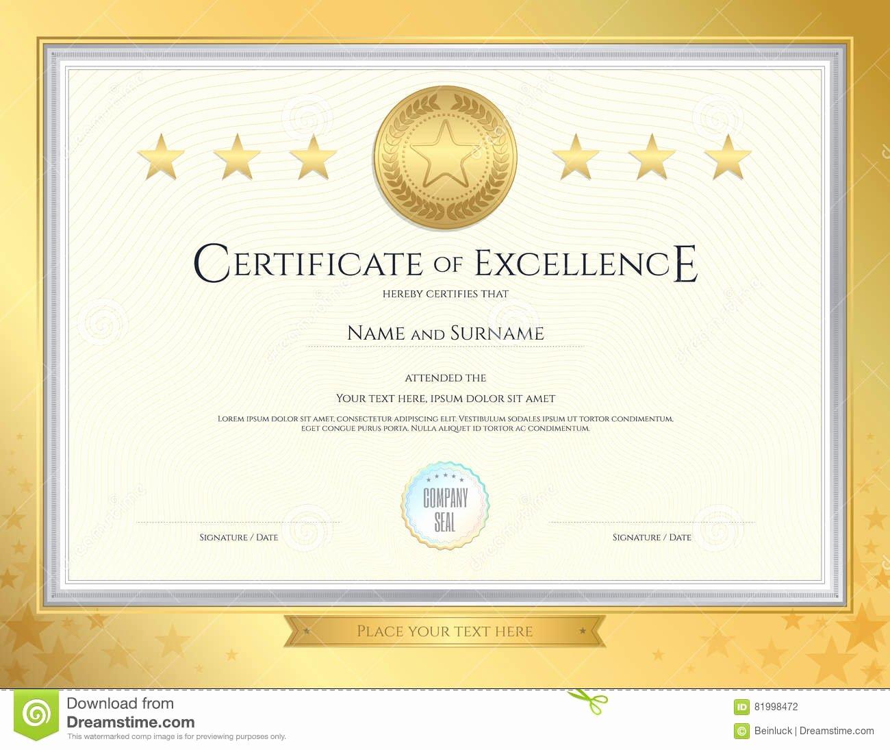 stock illustration elegant certificate template excellence achievement appreciation pletion gold border background image