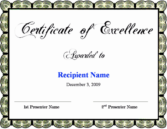 Certificate Of Excellence Template Word Unique Green Docs formatted Certificate Of Excellence Template