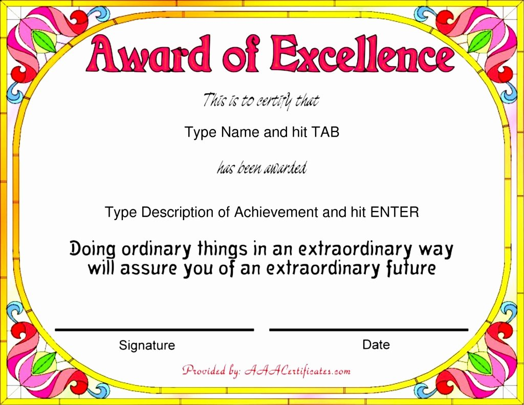 Certificate Of Excellence Template Word Unique Nice Template Word for Award Of Excellence with Colorful
