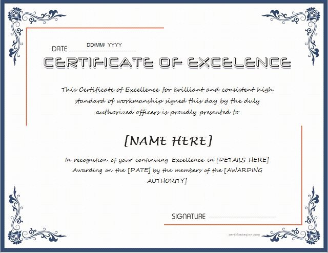 Certificate Of Excellence Template Word Unique Pin by Alizbath Adam On Certificates