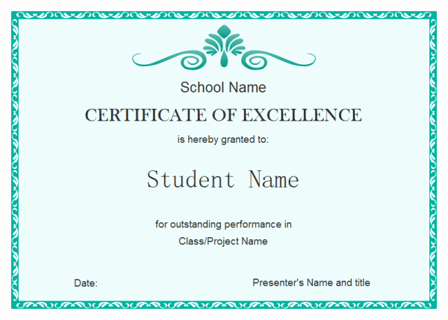 Certificate Of Excellence Template Word Unique Student Excellence Certificate