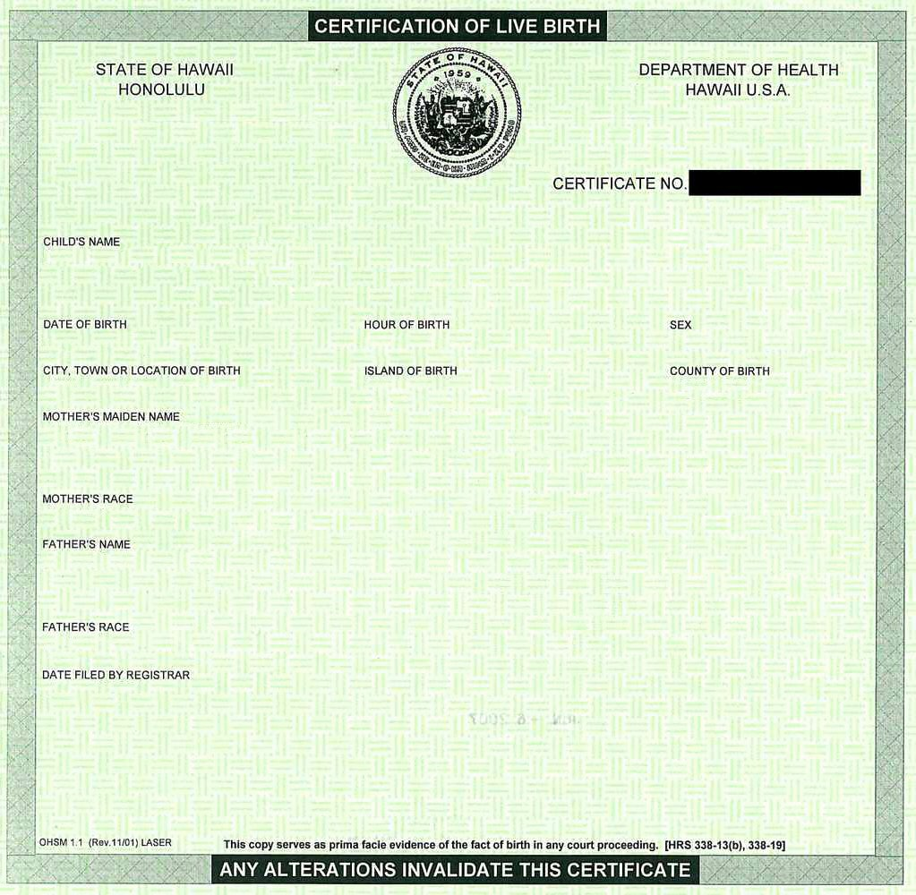 Certificate Of Live Birth Template Awesome Create Your Own Barack Obama Hawaiian Birth Cetification