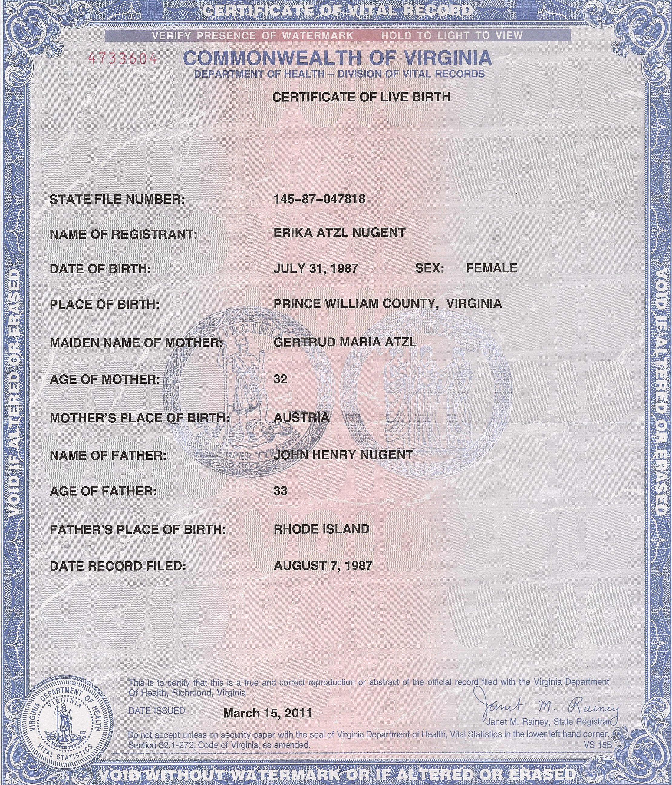 Certificate Of Live Birth Template Fresh Erika atzl Nugent Va Birth Certificate – John De Nugent