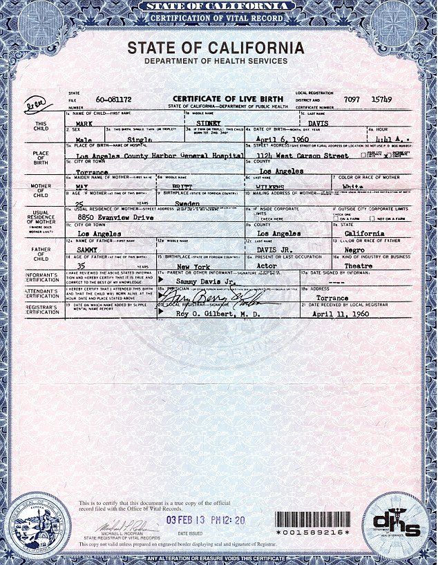 Certificate Of Live Birth Template Inspirational Sammy Davis Jr S Adopted son Mark Disproved to Be Singer S