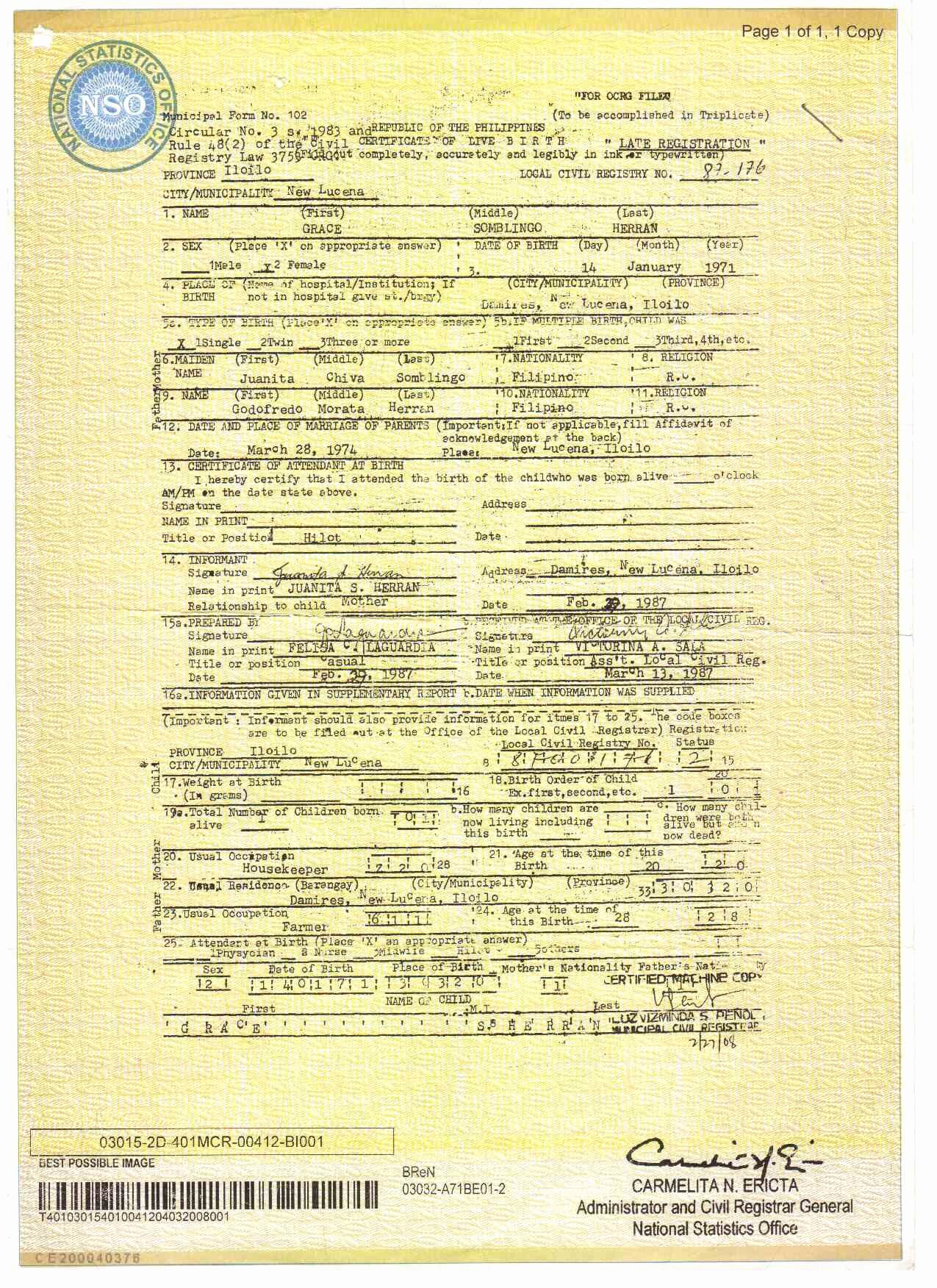 Certificate Of Live Birth Template Luxury Philippines Birth Certificate