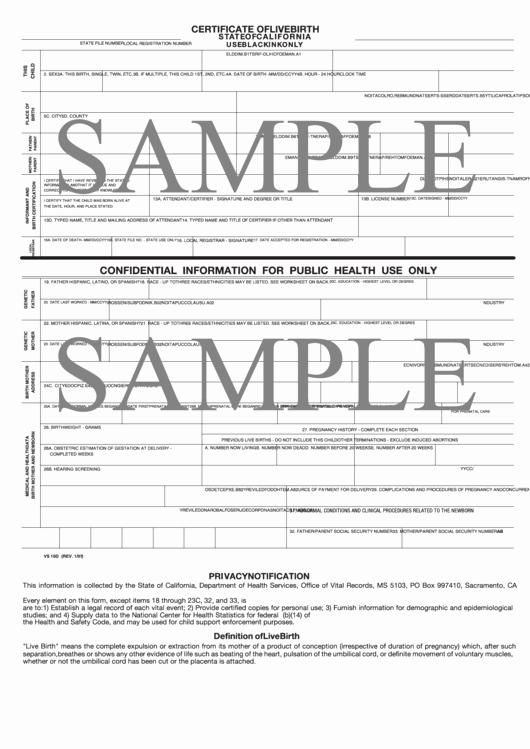 Certificate Of Live Birth Template Unique Sample Certificate Live Birth State California