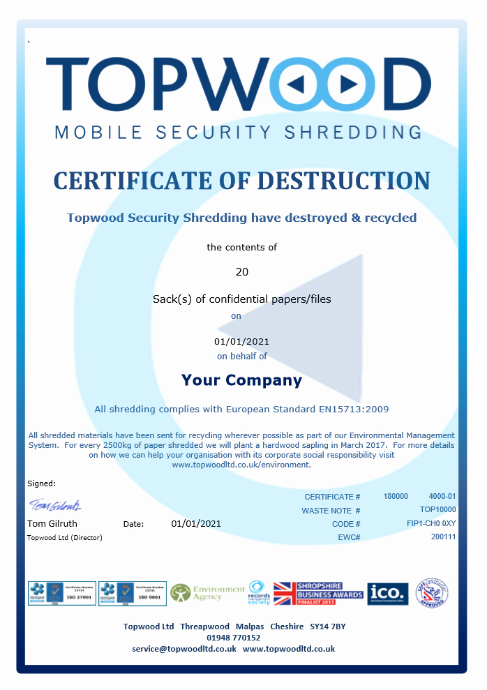 Certificate Of Service Example Best Of Does Your On Site Shredding Service Provide A Full Audit