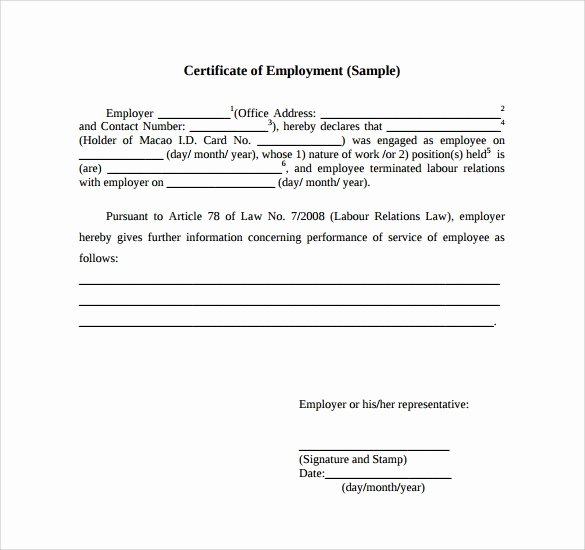 Certificate Of Service Example Elegant Certificate Employment Samples Word Excel Samples