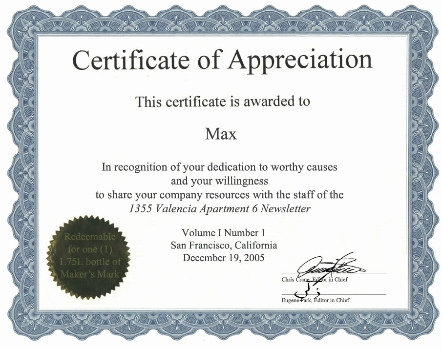 Certificate Of Service Example Luxury Appreciation Certificate