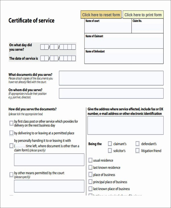 Certificate Of Service Example New 39 Service forms In Pdf