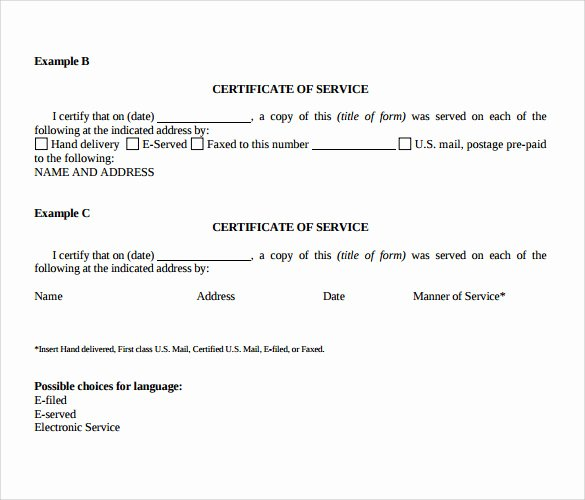 Certificate Of Service Example New Certificate Of Service Template 8 Download Free