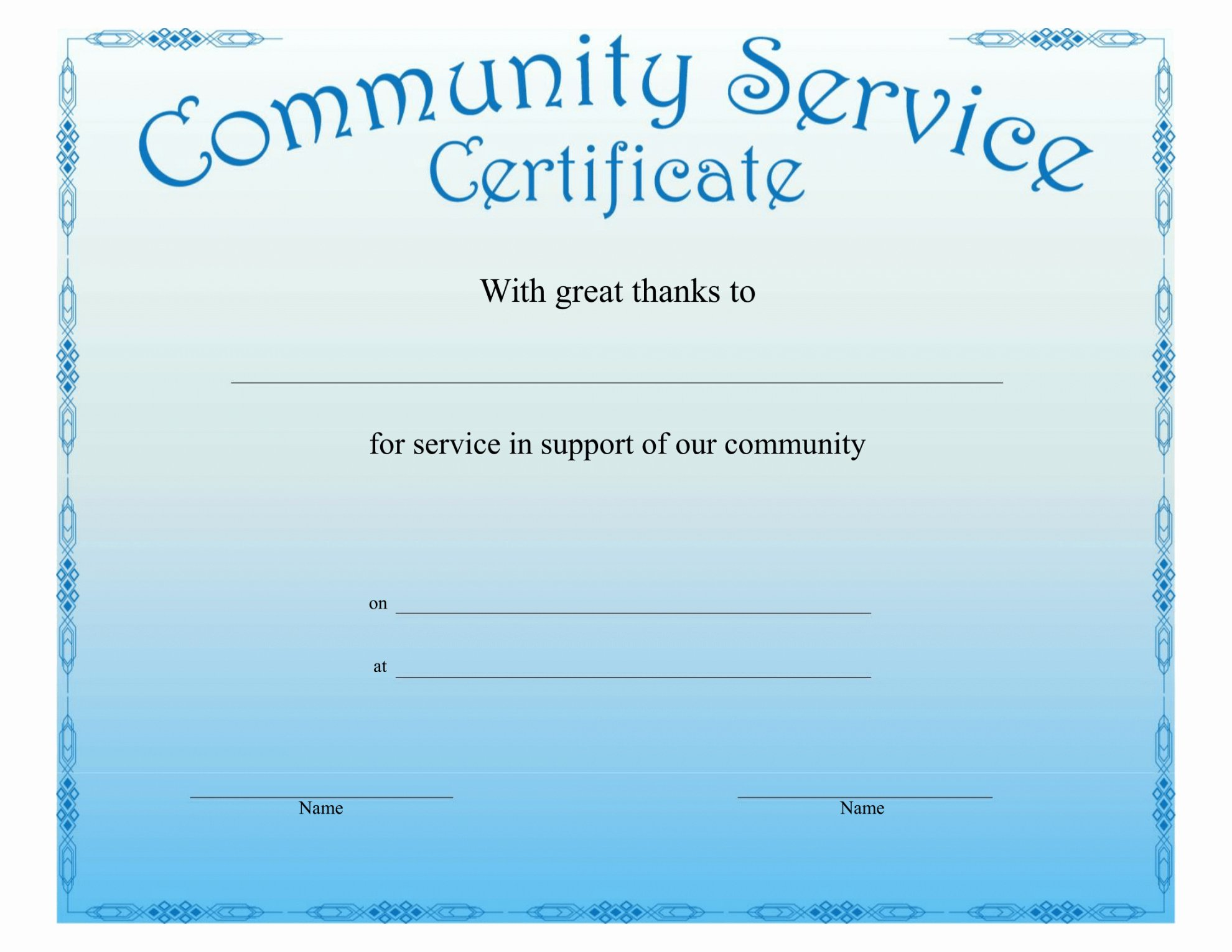 Certificate Of Service Example Unique Printable Munity Service Certificate Free Download