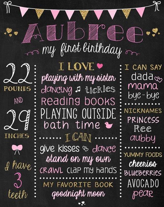Chalkboard First Birthday Poster Beautiful Best 20 First Birthday Board Ideas On Pinterest
