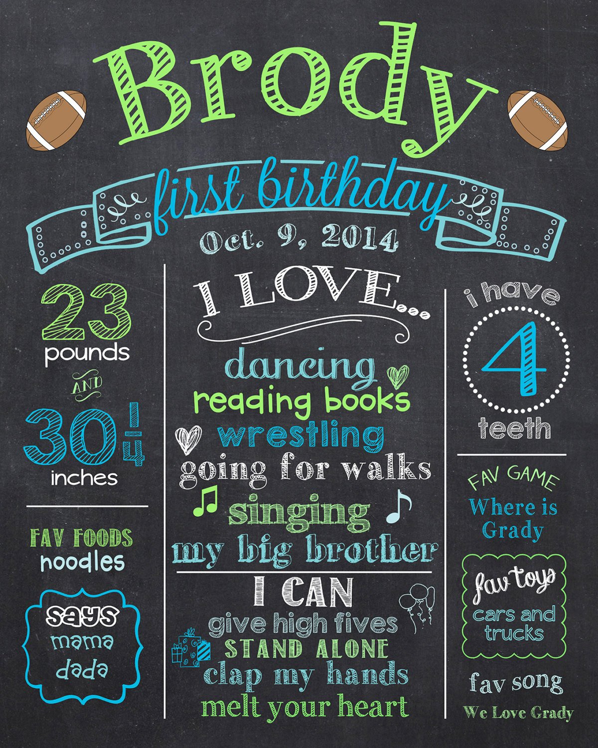 Chalkboard First Birthday Poster Elegant Football First Birthday Chalkboard Poster Sports 1st
