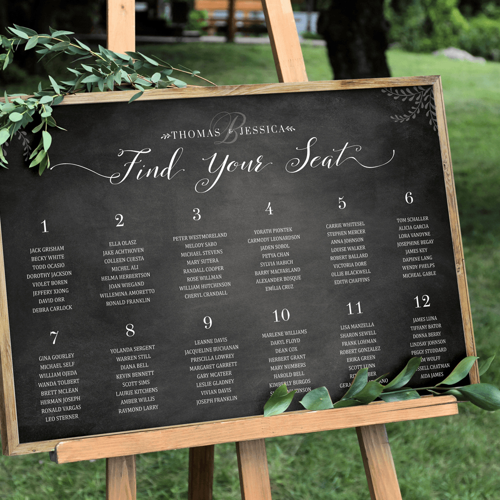 Chalkboard Wedding Seating Chart Beautiful Chalkboard Seating Chart Personalized Print – Jibe Prints