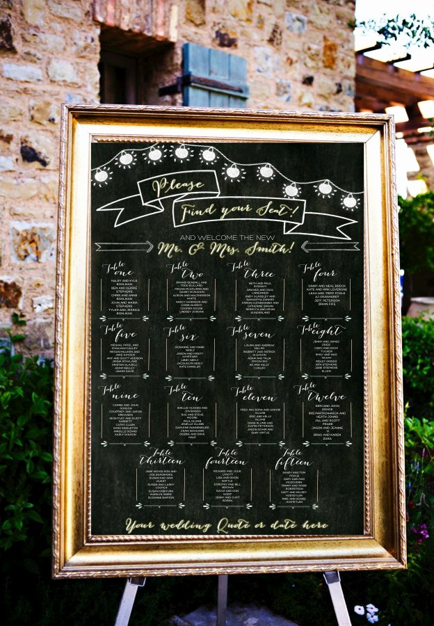 Chalkboard Wedding Seating Chart Fresh 12 Perfectly organized Seating Charts From Etsy