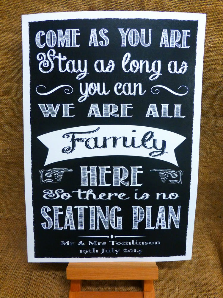 Chalkboard Wedding Seating Chart Unique No Seating Plan Sign A3 Vintage Chalkboard Style