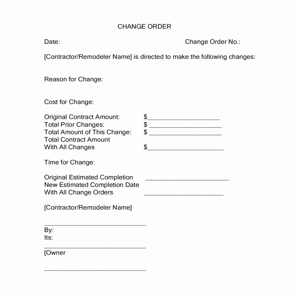 Change order form Awesome Change orders During A Construction Project