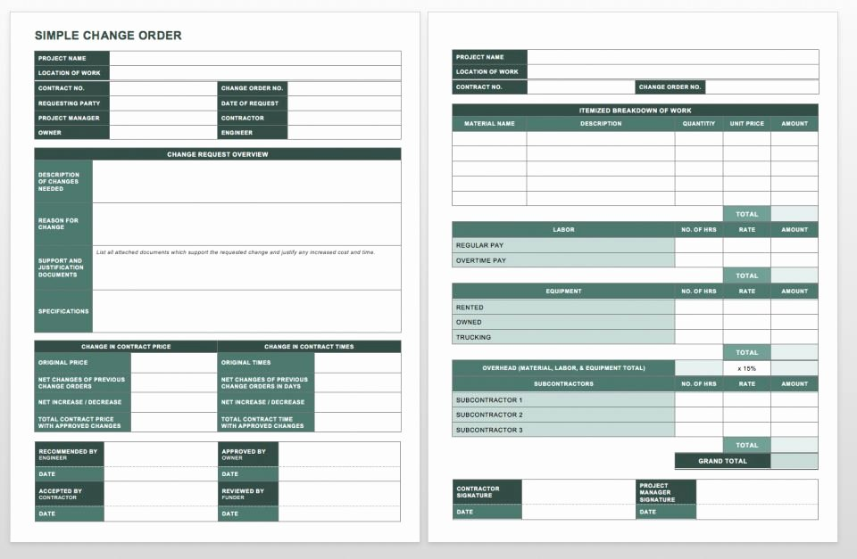 Change order form Fresh Plete Collection Of Free Change order forms