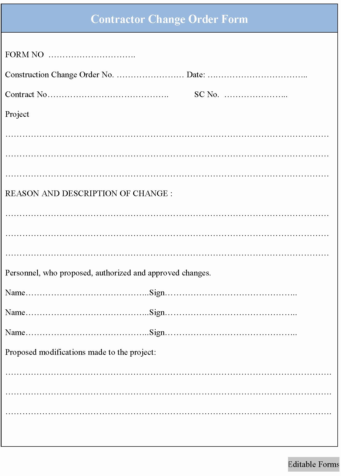 Change order form Unique Contractor Change order form